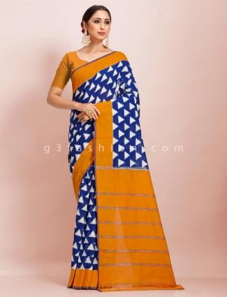 Pure mul cotton printed royal blue mustard festive wear sari
