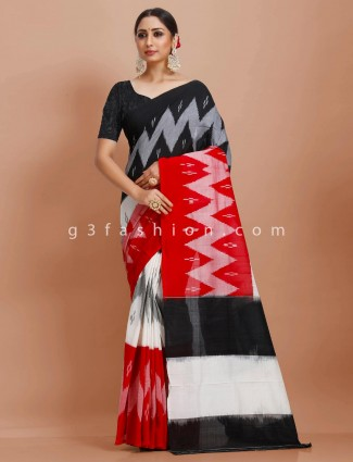 Pure mul cotton red white and black festive wear sari