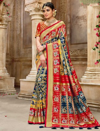 Pure patola silk for wedding in navy