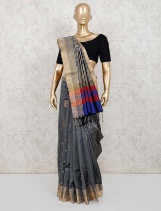 Pure silk grey wedding function saree