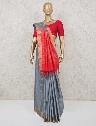 Pure south silk saree in grey and magenta