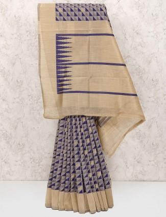 Purple and beige saree in cotton silk