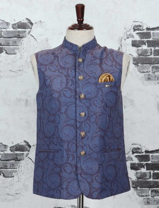 Purple and blue color waistcoat