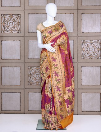 Purple and cream pure banarasi silk bridal saree