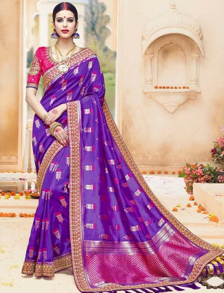 Purple and magenta silk saree