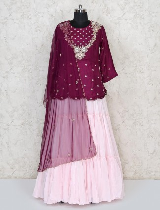 Purple and pink cotton silk party lehenga suit