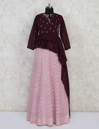 Purple and pink peplum style lehenga choli
