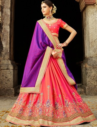 Purple and pink silk half and half saree