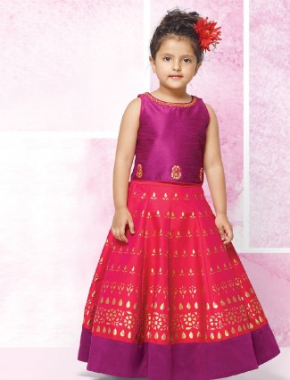 Purple and red silk choli suit