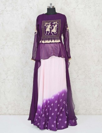 Purple and white indo western salwar suit in cotton for festivals
