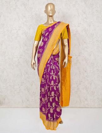 Purple and yellow saree in munga silk
