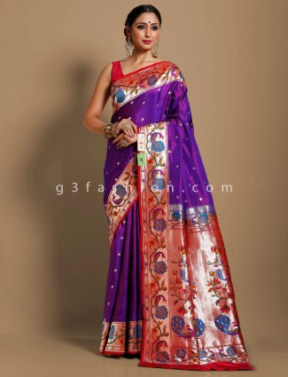 Purple banarasi paithani silk saree with colorfull thread woven border