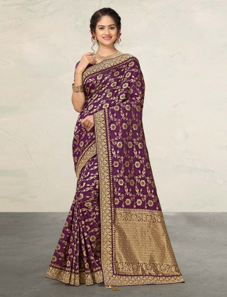 Purple banarasi silk zari weaving saree