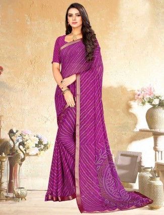 Purple bandhej print saree for festive days