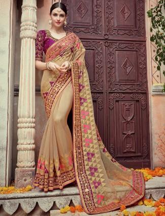 Purple beige designer silk saree