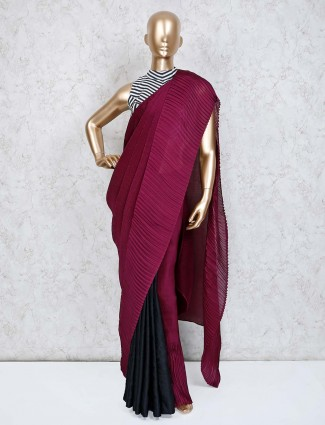 Purple black saree in crush satin with ready made blouse