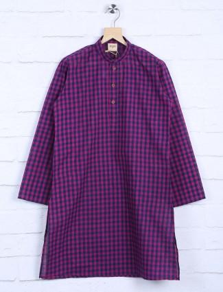 Purple checks pattern cotton kurta suit