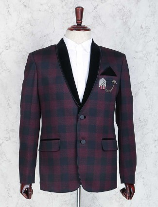 Purple checks terry rayon blazer