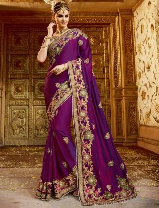 Purple classy georgette saree