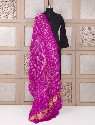 Purple color bandhej beautiful dupatta