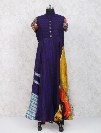 Purple color cotton fabric festive kurti