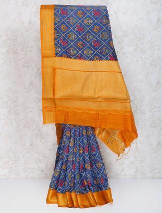 Purple color cotton silk saree