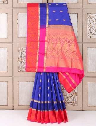 Purple color silk fabric festive wear saree