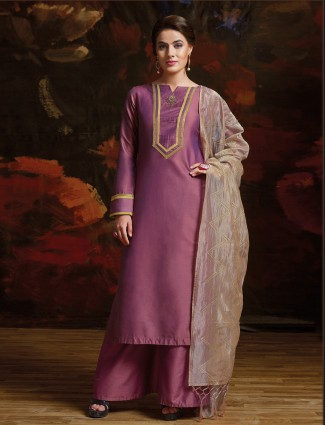 Purple color silk palazzo suit