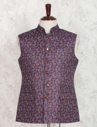 Purple colored printed pattern waistcoat