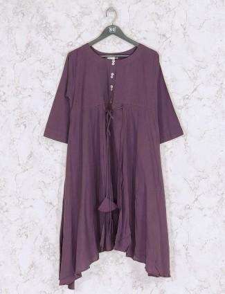 Purple colored solid designer kurti set