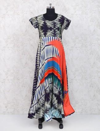 Purple cotton fabric long kurti