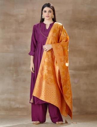 Purple Cotton Festivals Wear Salwar Sutis