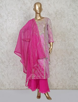 Purple cotton party wear punjabi palazzo set