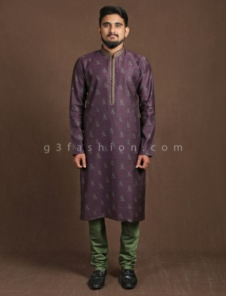 Purple cotton printed kurta suit