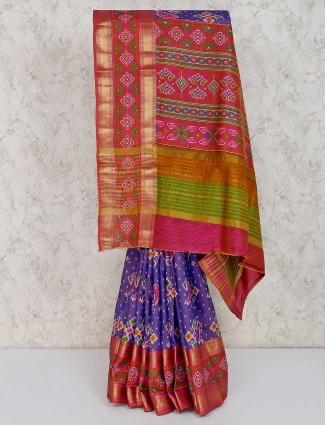 Purple cotton sik patola silk saree