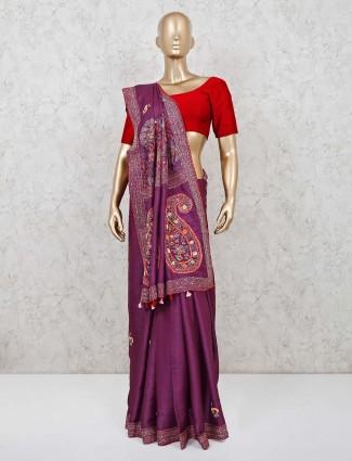 Purple cotton sik saree for pretty womens