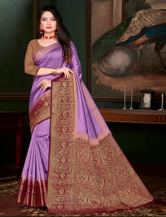 Purple cotton silk festivals wear saree