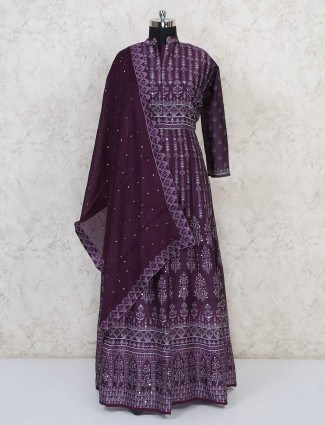 Purple cotton silk printed floor length anarkali suit