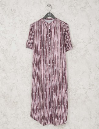Purple Cotton striped kurti
