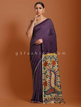 Purple designer bandhej kalamkari saree
