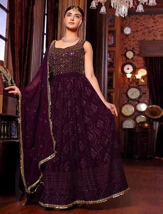 Purple designer georgette anarkali suit wedding wear