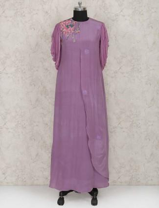 Light violet designer georgette fabric kurti
