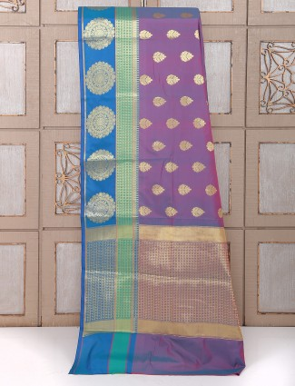 Purple dhupchav silk saree for wedding