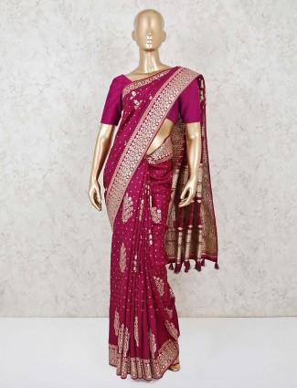 Purple dola silk reception wear saree