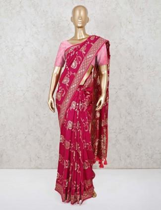 Purple dola silk saree for reception