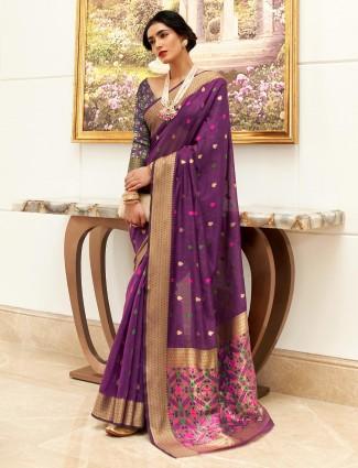 Purple festive session thread work saree