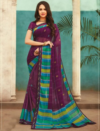 Purple georegtte printed saree for festivals