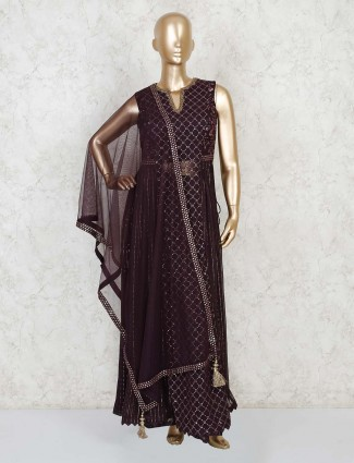 Purple georgette designer palazzo salwar suit