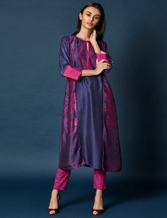 Purple hue festive salwar suit in cotton silk