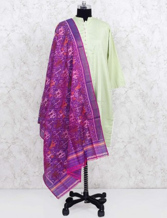 Purple hue patola silk dupatta